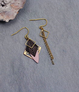 Golden black pink art deco earrings