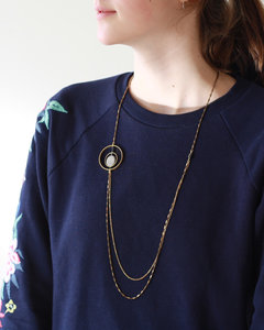 Long geometric circle art deco necklace