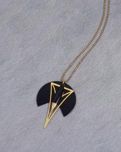 Art deco half circle golden black necklace