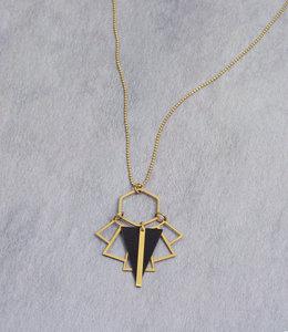 Art deco fan golden black necklace