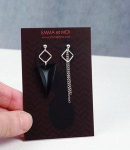 Silver black asymmetric earrings posts