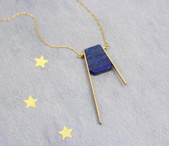 Geometric balance asymmetric blue necklace
